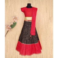 Silverthread Elegant Lehenga Choli Dupata Set, Red & Black